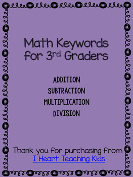 3rd Grade Math Keywords OA Standards