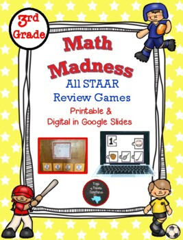 3rd Grade STAAR Review Games: Math Madness TEKS Bundle for