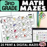 3rd Grade Math Mazes - A GROWING BUNDLE - Fun Math Review