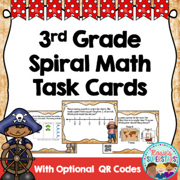 3rd Grade Math Mixed Practice Task Cards With QR Codes-Pirate Themed