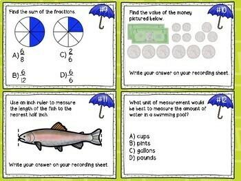 3rd Grade Math Mixed Review Task Cards - Set #1