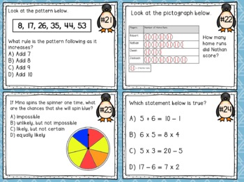 3rd Grade Math Mixed Review Task Cards - Set #2