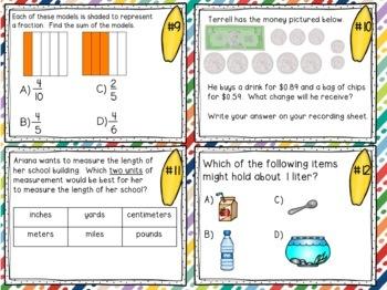 3rd Grade Math Mixed Review Task Cards - Set #3