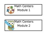3rd Grade Math Module labels for center bins