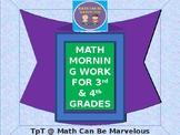 3rd Grade Math Morning Work & 4th Grade Small Group Math R