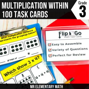 Multiplication Task Cards 3rd Grade Math Centers