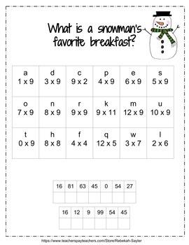 3rd Grade Math: Multiplication: Winter Jokes solved with Multiplication