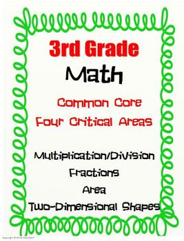 3rd Grade Math - Multiplication/Division, Fractions, Area, 2-D Shapes