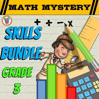 3rd Grade Math Mystery SKILLS Bundle