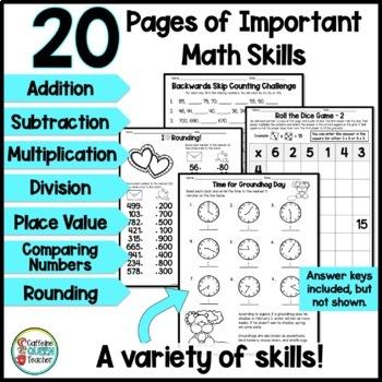 Winter Math Worksheets - 3rd Grade Math NO PREP Pack