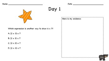 3rd Grade Math NYS Review: Question of the Day: September