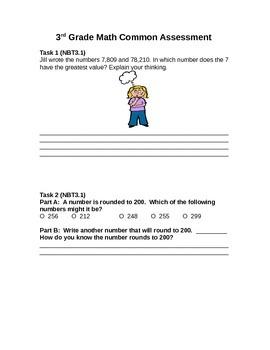3rd Grade Math PARCC Like Math Assessment