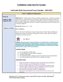 3rd Grade Math Pacing Guide/IFC