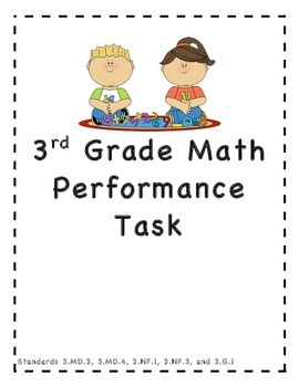 3rd Grade Math Performance Task:3.MD.3, 3.MD.4, 3.NF.1, 3.NF.3, and 3.G.1