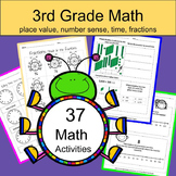 Fun Math Worksheets: Place Value, Number Sense, Time and Fractions
