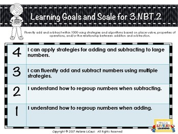 3rd Grade Math Posters with Learning Goals & Scales (NBT) Editable Levels FREE