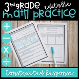 3rd Grade Math Practice With Constructed Response   Distance Learning