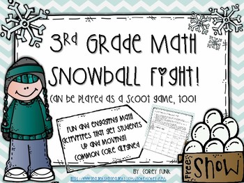 3rd Grade Math Practice Snowball Fight and Scoot