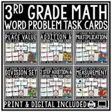 Digital 3rd Grade Math Problem Solving Task Cards: TEKS 3.2A 3.4A 3.4K 3.7B