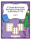 3rd Grade Math Puzzle - Multiplying Single Digits by Multi