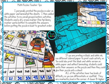 3rd Grade Math Puzzles Winter Theme