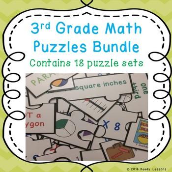 Math Centers 3rd Grade Math Game Puzzles Bundle