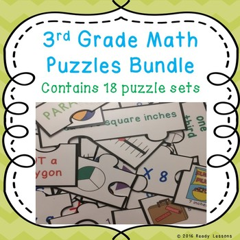 End of Year Math Activities 3rd Grade Math Review Game Puzzles Bundle