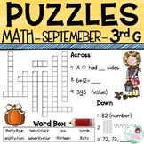 3rd Grade Math Crossword Puzzles - September