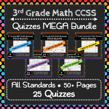 3rd Grade Math Quizzes Digital + Paper MEGA Bundle: Google + PDF Quizzes