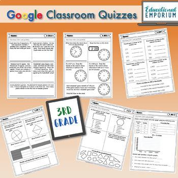 3rd Grade Math Quizzes Digital + Paper MEGA Bundle: Google + PDF Quizzes