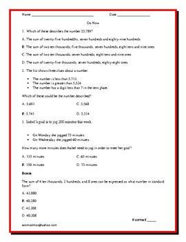 3rd Grade Math Readiness Problems