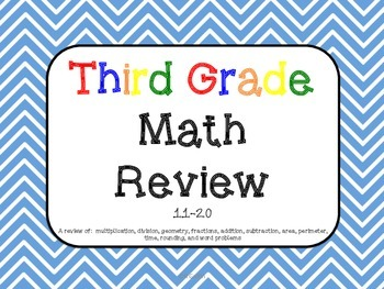 3rd Grade Math Review 11-20 Common Core aligned