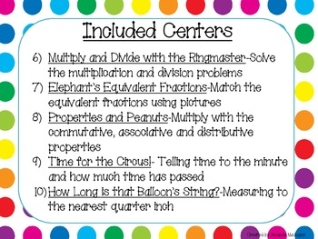 3rd Grade Math Review Centers - Common Core Aligned