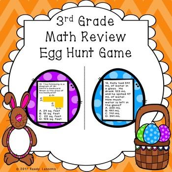 3rd Grade Math Review Easter Egg Hunt Game for Test Prep