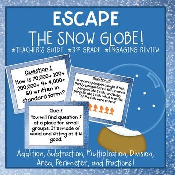 3rd Grade Math Review- Escape the Snow Globe
