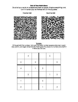 3rd Grade Math Review Menu