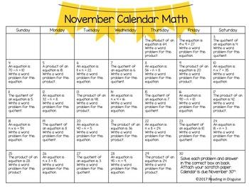 3rd Grade Math Review: November
