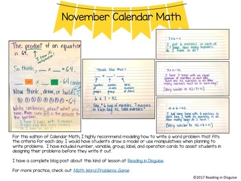 3rd Grade Math Problem of the Day: November