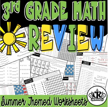 3rd Grade Math Review Packet with Summer Theme