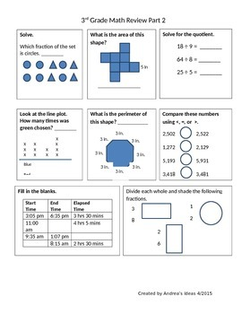 3rd Grade Math Review Part 2