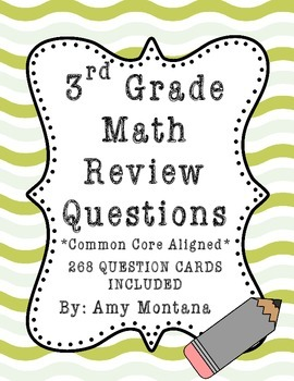 3rd Grade Math Review Question Cards for Common Core {268 Cards Included}