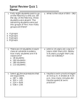 3rd Grade Math Review Quiz