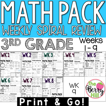 3rd Grade Math Center or Morning Work - Weekly Spiral Review - Weeks 1-9