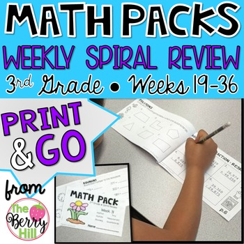 3rd Grade Math Center or Morning Work - Weekly Spiral Review - Wks 19-36