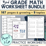 3rd Grade Math Review Packet Growing Bundle