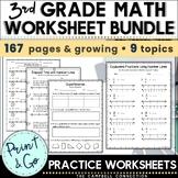3rd Grade Math Review Packet Growing Bundle