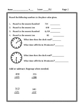 3rd Grade Math Review Worksheets
