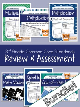 3rd Grade Math Review and Assessment Bundle