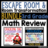 3rd Grade Math Review and Test Prep Escape Room and Room Transformation Bundle