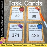 3rd Grade Math Round to the Nearest Ten or Hundred Task Cards